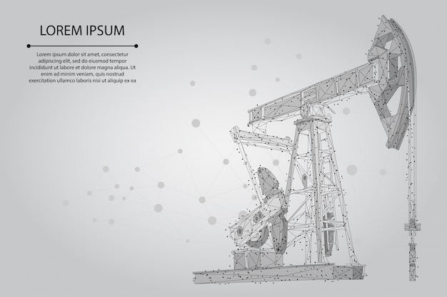 Abstract mash line and point oil well rig. low poly petroleum fuel industry pumpjack derricks pumping drilling point
