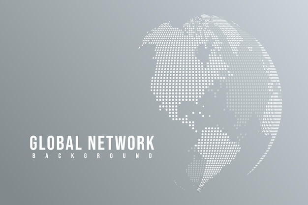 Abstract mash line and point scales on white background with global. polygonal network line.