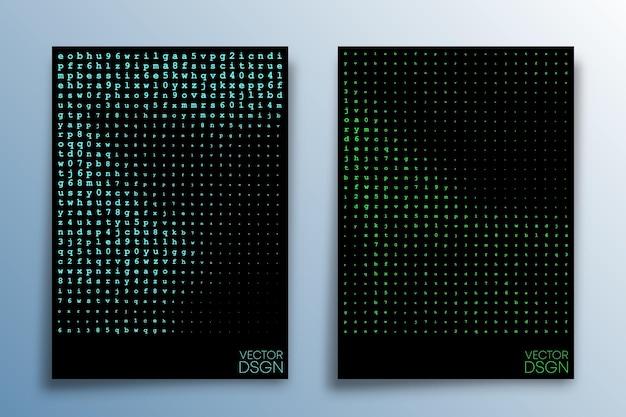チラシ、ポスター、表紙の抽象的なマトリックス効果のデザイン。