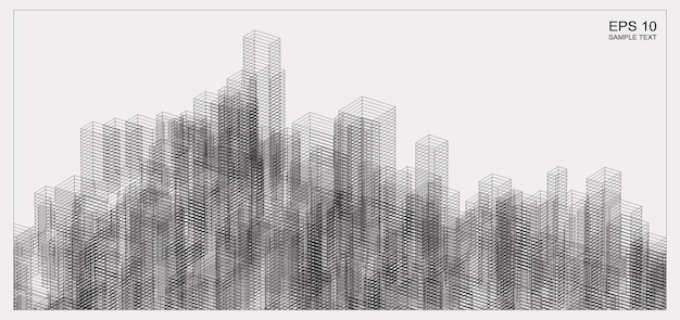 Abstract matrix wireframe space of building. 3d perspective wireframe background. vector illustration.