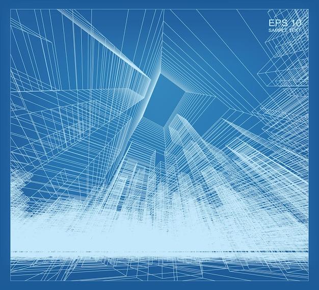 Абстрактная матрица каркасного пространства здания. перспективный каркасный фон. векторная иллюстрация 3d.