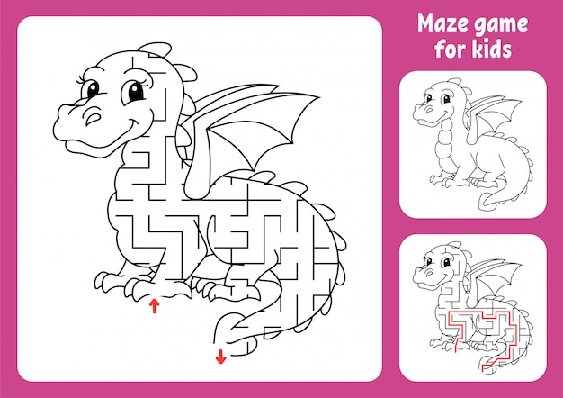 Abstract maze. fairytale dragon. game for kids. puzzle for children.