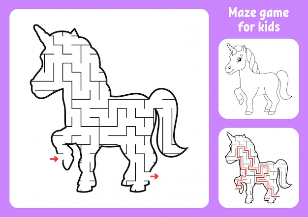 Abstract maze. magical unicorn. game for kids.