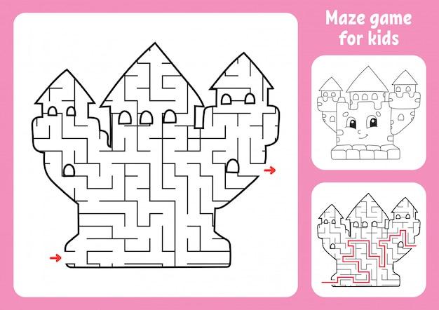Абстрактный лабиринт. королевский замок игра для детей. пазл для детей.
