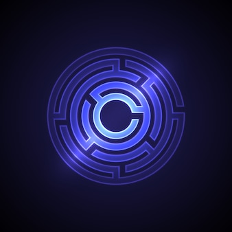 Abstract maze  with glowing light. circle shape
