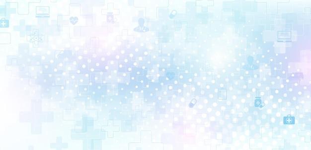 抽象的な医療と科学ヘルスケアの青いバナーデザインテンプレート。ヘルスケア医学の概念。医療イノベーション製薬技術バナー。波の流れ。ベクトルイラスト。