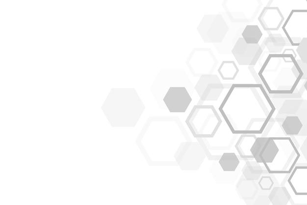 추상 의료 배경입니다. dna 연구. 의학, 과학, 기술에 대한 육각 구조 분자 및 통신 배경. 벡터 일러스트 레이 션.
