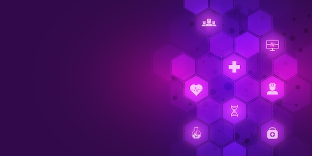 Абстрактная медицинская предпосылка с плоскими значками и символами. концепции и идеи для технологий здравоохранения, инновационной медицины, здравоохранения, науки и исследований.
