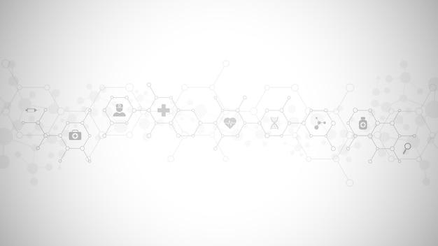 フラットアイコンとシンボルで抽象的な医学的背景。ヘルスケア技術、イノベーション医学、健康、科学、研究のためのコンセプトとアイデアを備えたテンプレートデザイン。