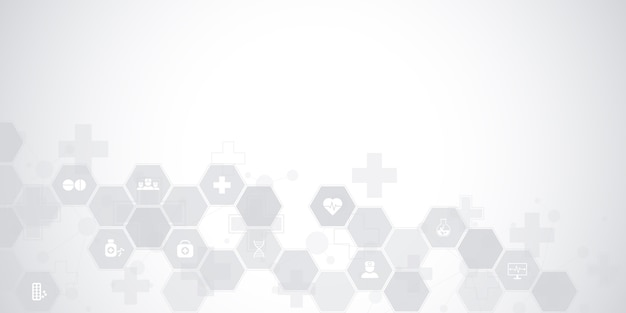 Abstract medical background with flat icons and symbols. concepts and ideas for healthcare technology, innovation medicine, health, science and research.