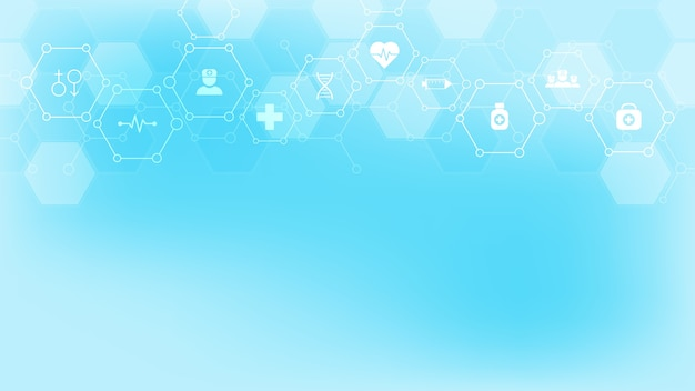 Abstract medical background with flat icons and symbols