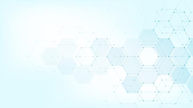 六角形のパターンを持つ抽象的な医療の背景。ヘルスケア技術、イノベーション医学、健康、科学、研究の概念とアイデア。
