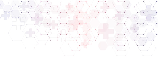 Abstract medical background with hexagons pattern. concepts and ideas for healthcare technology, innovation medicine, health, science and research.