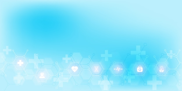 アイコンとシンボルの抽象的な医療の背景。ヘルスケア技術、イノベーション医学、健康、科学、研究のコンセプトとアイデアを備えたテンプレート。