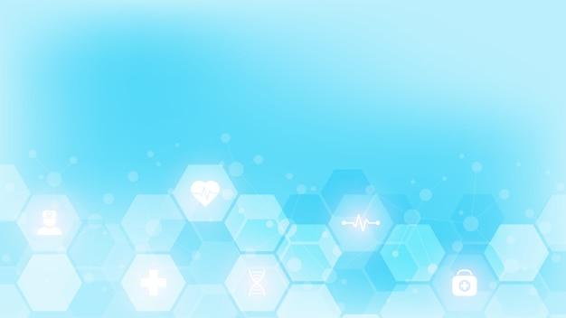 아이콘 및 기호 추상 의료 배경입니다. 의료 기술, 혁신 의학, 건강, 과학 및 연구에 대한 개념과 아이디어가 담긴 템플릿.