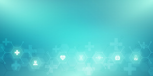 Abstract medical background with  icons and symbols. template  with concept and idea for healthcare technology, innovation medicine, health, science and research. Premium Vector