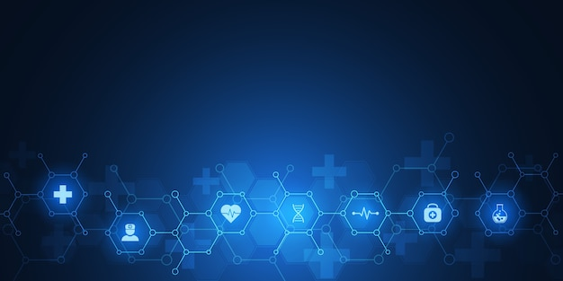Abstract medical background with  icons and symbols. template  with concept and idea for healthcare technology, innovation medicine, health, science and research.