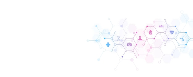 Abstract medical background with  icons and symbols. Premium Vector