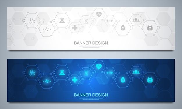 Абстрактный медицинский баннер, идея для медицинских технологий, инновационной медицины, здравоохранения, науки и исследований.