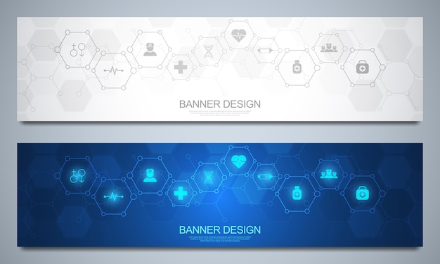 Abstract medical banner, idea for healthcare technology, innovation medicine, health, science and research.
