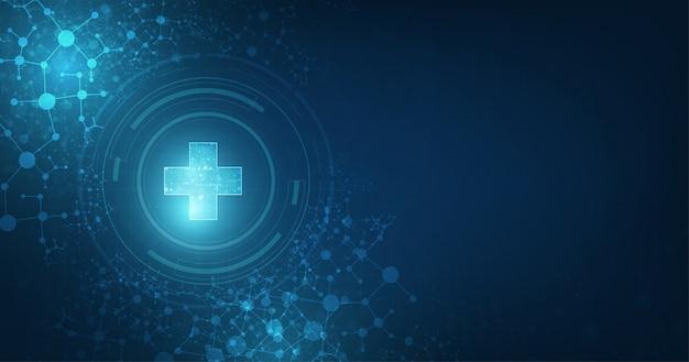 진한 파란색 배경에 건강 관리 및 의료 주제에 적합한 추상 의료 글로벌 연결