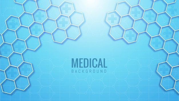 Abstract medical and healthcare hexagonal shape