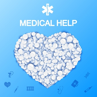 Abstract medical help template with heart shape from pills and drugs on light blue illustration