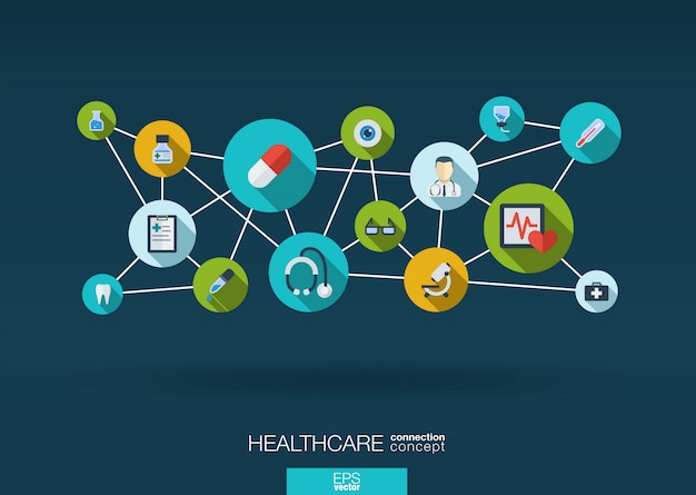 線、円で医学の背景を抽象化し、アイコンを統合します。医療、健康、ヘルスケア、看護師、dna、薬とインフォグラフィックコンセプトは、シンボルを接続しています。インタラクティブなイラスト。