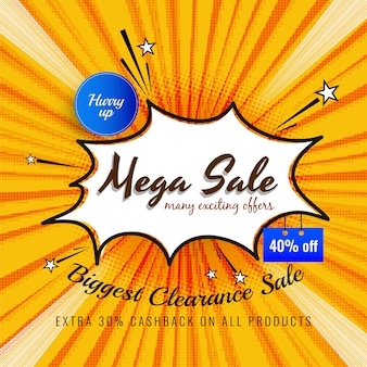 Abstract mega sale advertising bright background