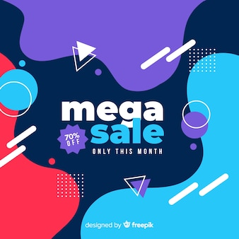 Abstract mega sale background with memphis elements
