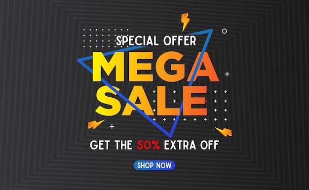 Abstract mega sale banner template background