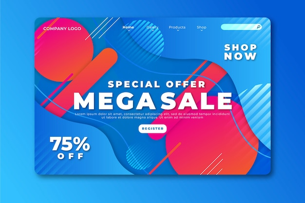 Abstract mega sale landing page template