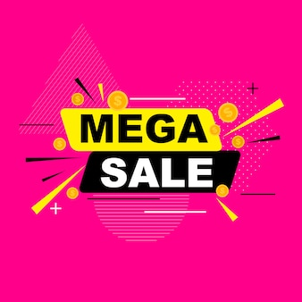 Abstract mega sale poster.  illustration