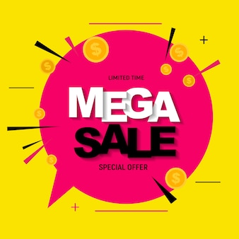 Abstract mega sale poster with gold dollar coins.  illustration