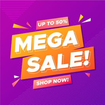 Abstract mega sale promo banner