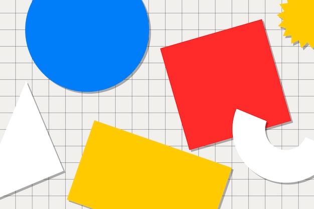 抽象的なメンフィスの背景、カラフルな幾何学的な形のベクトル