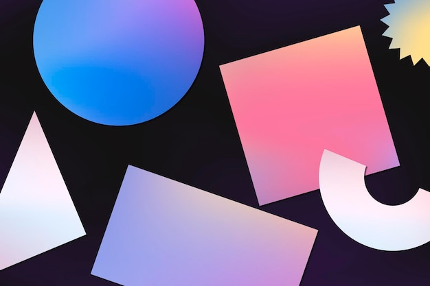 Abstract memphis background, gradient geometric shapes vector