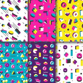 抽象的なメンフィスのシームレスパターンコレクション