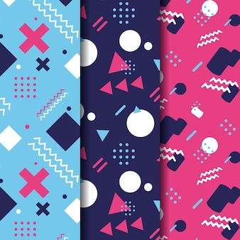 Abstract memphis seamless pattern collection
