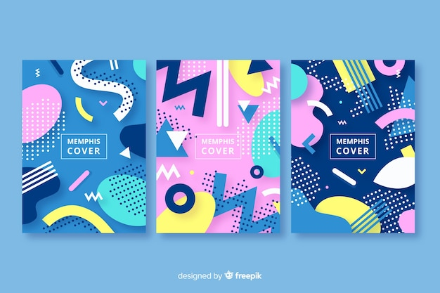 Abstract memphis style cover collection