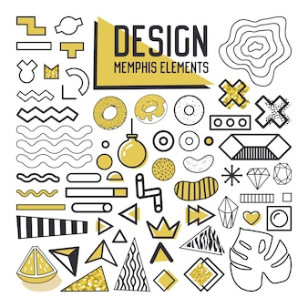 抽象メンフィススタイルのデザイン要素セット。パターン、背景、パンフレット、ポスター、チラシ、カバーの幾何学的形状コレクション。