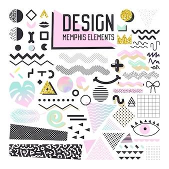 추상 멤피스 스타일 디자인 요소 집합입니다. 패턴, 배경, 브로셔, 포스터, 전단지, 표지에 대한 기하학적 모양 컬렉션입니다.