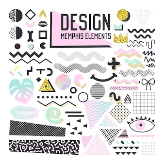 Abstract memphis style design elements set. geometric shapes collection for patterns, backgrounds, brochure, poster, flyer, cover.