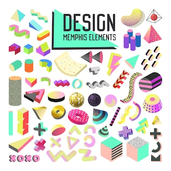 Abstract memphis style design elements set. geometric shapes collection with 3d forms and fluid
