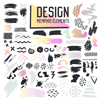 Abstract memphis style design elements set