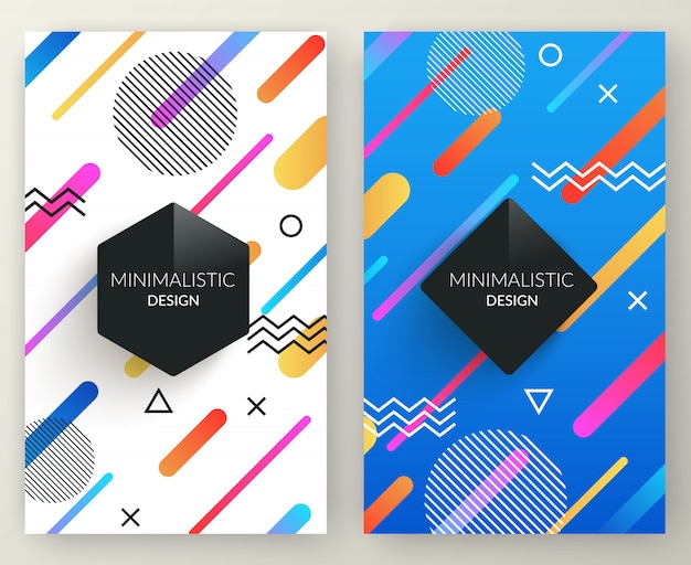 Abstract memphis style retro vertical banners with multicolored simple geometric shapes