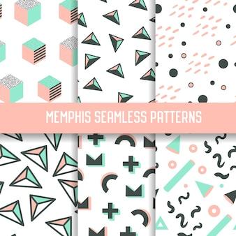 抽象メンフィススタイルのシームレスなパターンセット。幾何学的な要素を持つ流行に敏感な背景。