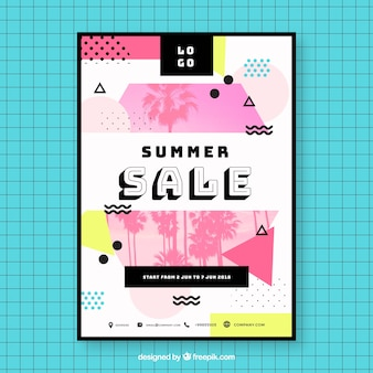 Abstract memphis summer sale flyer template with image