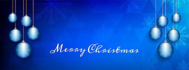Abstract merry christmas decorative blue banner