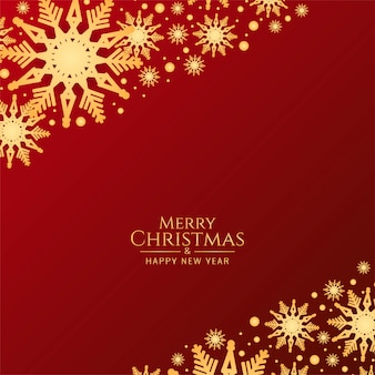 Abstract merry christmas red background with snowflakes